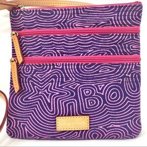 Dooney & Bourke Doodle Print Purple Crossbody Bag